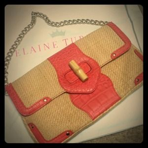 Elaine Turner Coral Croc Chain clutch bag