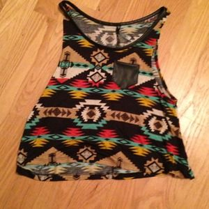 Aztec print crop top tank with faux leather pocket