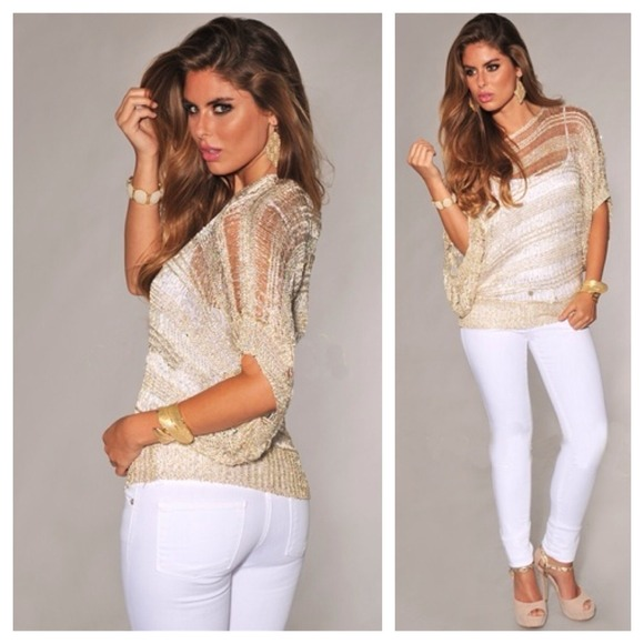 Gold Cream Sequins Accent Off Shoulder Top S from My's closet on ...
