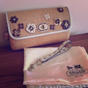 Coach flower straw clutch