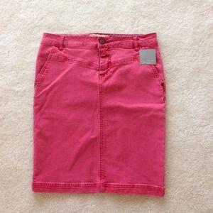 Anthro red denim skirt