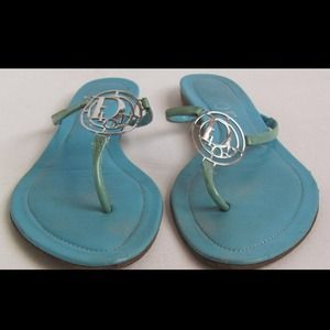 Authentic Christian Dior Blue Flat Sandals 36