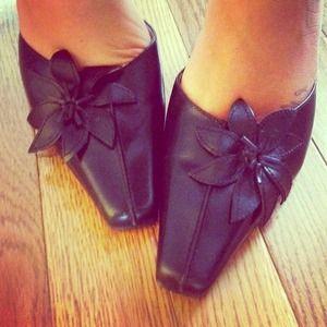 REDUCED!!! Apt 9 black heels with flower detail!
