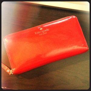 Red patent Kate Spade wallet