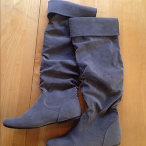 Grey fabric knee high boots! Worn once