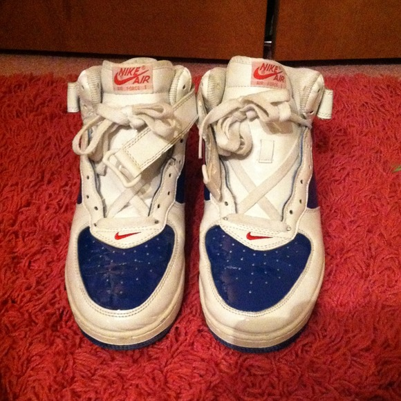 Nike Shoes Authentic Red White And Blue Air Force 1 High Top