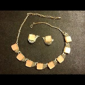 """""""HP"""" CORO/VINTAGE PINK LUCITE AND GOLD MOUNTS SET"""