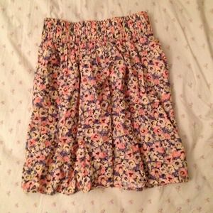 Pink/yellow/blue floral skirt
