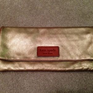 Authentic Gold Kate Spade Foldover Clutch