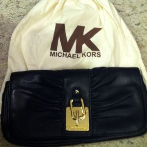 Michael Kors black and gold clutch