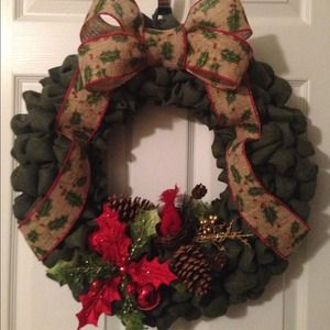 other 18 burlap christmas wreath dark green - Burlap Christmas Wreaths