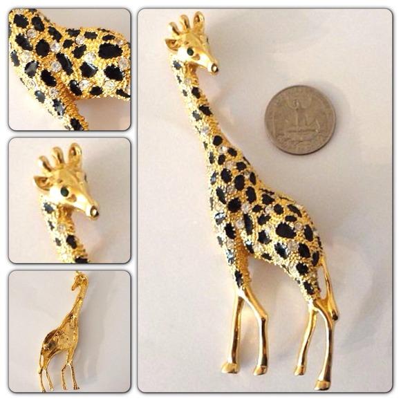 9f89ea02d Huge Vintage Swarovski Crystal Gold Giraffe Brooch.  M_520134debdb60076f7009546