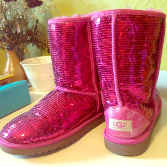 pink glitter ugg boots
