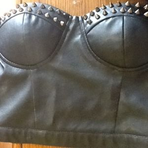 Black faux leather crop top never worn