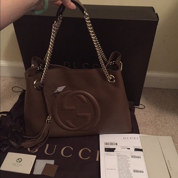 53fa2a08099 Sold💢💢💢💢GUCCI soho leather shoulder bag tote