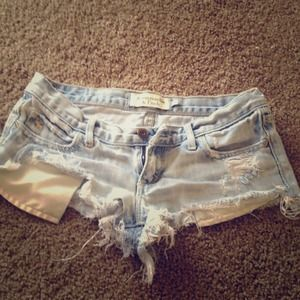 Extremely distressed A&F denim shorts size 00
