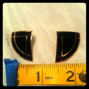 Vintage estate onyx and gold plated post earrings