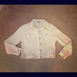 Designer Denim Jacket Blazer white with embroidery