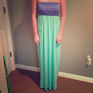 Blue and seafoam green maxi dress with pockets