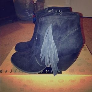 Brand new Black suede fringe ankle boots