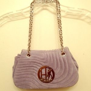 HENRI BENDEL steel-blue suede quilted purse