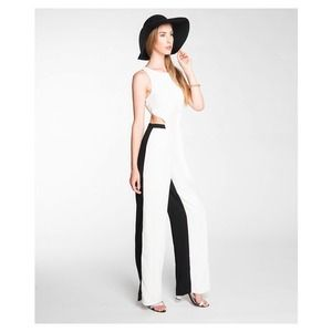 Two tone black and white jumpsuit