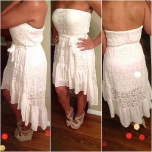 White high-low strapless lace dress