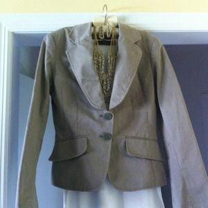 H & M olive green pinstripe blazer.