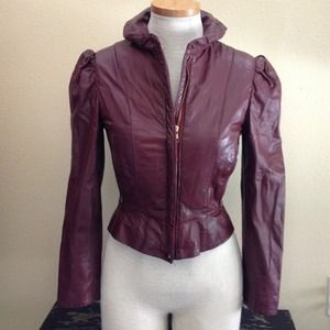Leather Loft Jackets & Blazers - Vintage burgundy leather jacket w/peplum waist
