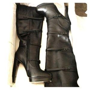 Black BCBG calfskin leather knee-high boots