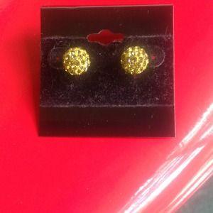 New, green rhinestone cluster earrings