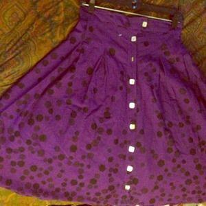 Button Up Skirt Print-Purple and Black Skirt