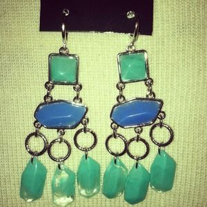 Jewelry - *NWT* Blue & Green Boutique Statement Earrings