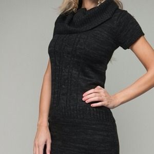Sweaters - Black/Charcoal Sweater Tunic Dress