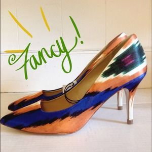 ⛔BUNDLED⛔✨ ZARA fun Aztec satin pumps NWT.