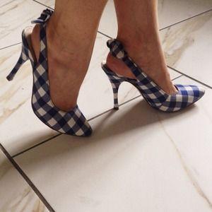 Blue and white kitten heels