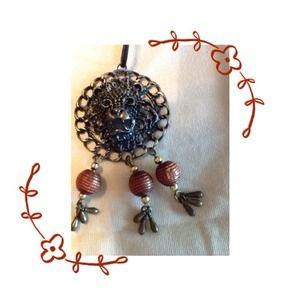 Jewelry - Lion pendant & beads on leather necklace /REDUCED!