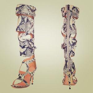 Snake print gladiator heels
