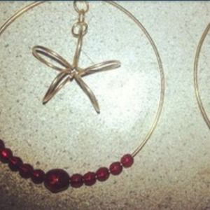 Gold hoop & flower earring w/ red beads