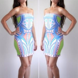 Ethnic ornament tube mini dress