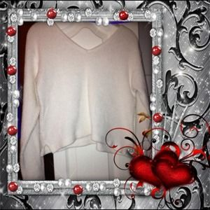 White V-neck & back crop Sweater...size Small