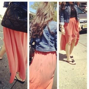 Peach hi low skirt
