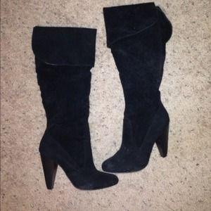 Boots - Velvet knee boots