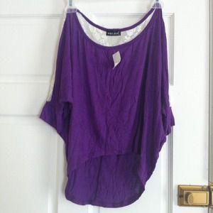 High-low purple & cream lace shirt