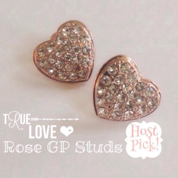 🎉3X HP 18K Rose GP Australian crystal heart studs