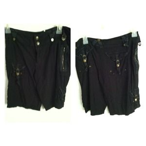Pants - Black Cargo Capri Pants