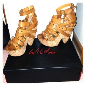 wild pair Shoes - Studded camel wedges by wild pair Sz 6.5 fits Sz 7