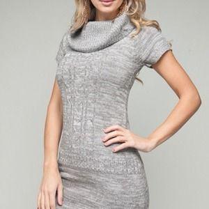 Sweaters - Light Gray Cowl Neck Tunic Dress