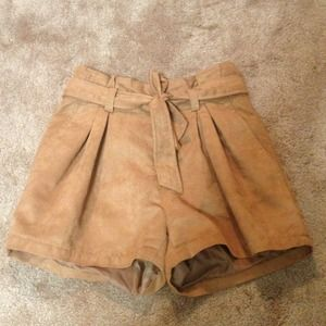 High Waist Suede Shorts