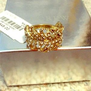 Sold 0ut!!  Jcrew gold rhinestone feather ring NWT